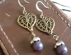 Fall Sale Hearts dangle earrings/ antiqued bronze by Ivanwerks, $14.56