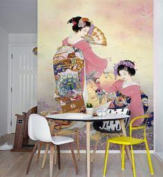 tapisserie asiatique papier peint japonais sur mesure portrai fille japonaise