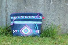 Ordnungshelfer und Freihand-Stoffmalkunst | Taschenspieler 2 Sew Along // farbenmix // zipper pouch // Reißverschlusstasche // fabric painting // jeans recycling // denim