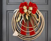 """Lariat Rope Wreaths   Christmas Antler Lariat Rope Wreath """"Velvet and Sequins """""""