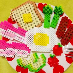 Breakfast perler beads by Chuck Nun