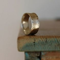 Wide Hammered Sterling Silver Band Ring
