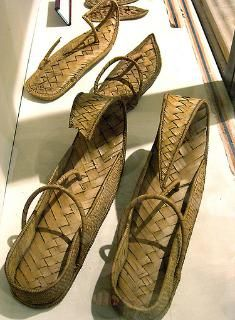 Sandals made from vegetable  fibre. There were also leather  sandals belonging to Kha found  among the goods.Tomb of architect Kha TT8 at Deir el-Medina