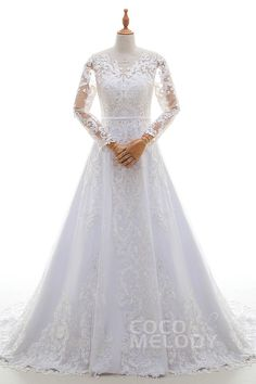 Graceful A-Line Illusion Tulle and Lace Ivory/White Long Sleeve Wedding Dress with Appliques and Sashes LD4323 #designercollections #customdresses #cocomelody #weddingdresses