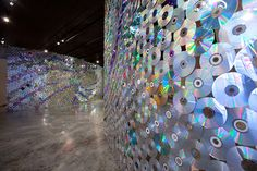 Shiny Sculpture Made of Donated CDs