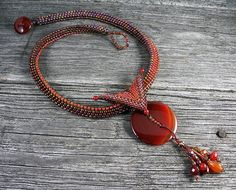 Beadweaving: African Polygon Rope with Carnelian Button Pendant, Butterfly Bail Seed Bead Necklace, Seed Bead Jewelry, Beaded Jewelry, Beaded Necklace, Beaded Bracelets, Necklaces, Jewellery, Alcohol Ink Jewelry, Necklace Tutorial