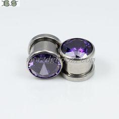 fashion purple zircon ear gauges plugs flesh tunnels piercing body jewelry sale in pair 4 10mm SE 033.-in Body Jewelry from Jewelry on Aliex...