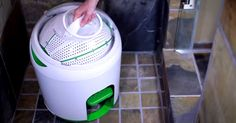 Canadian startup has invented pint-size portable washing machine that washes and spin dries 7 items.
