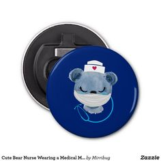 Cute Bear Nurse Wearing a Medical Mask Bottle Opener Cute Bears, Nurse Gifts, Business Supplies, Party Hats, Art Pieces, How To Make, How To Wear, Medical, Bottle Openers