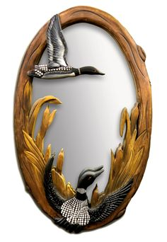 Loon Hand-Carved Wooden Mirror - American Expedition