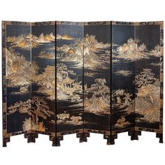 Century Six-fold Chinese Lacquer Screen Plywood Furniture, Asian Furniture, Chinese Furniture, Oriental Furniture, Antique Furniture, Decoration, Art Decor, Floor Screen, Dressing Screen