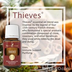 Thieves® essential oil blend was inspired by the legend of four French thieves who formulated a special aromatic combination composed of clove, rosemary, and other botanicals they used while robbing the dead and dying. Young Living Oils, Young Living Essential Oils, Thieves Essential Oil, Yl Oils, Essential Oil Diffuser Blends, Therapeutic Grade Essential Oils, Healing Herbs, 15th Century, Natural Remedies