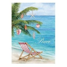 Palm Tree and Beach Chair Christmas card