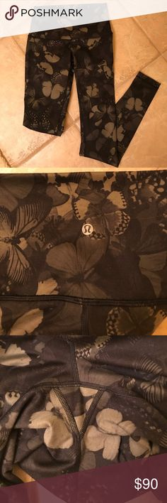 🎉Memorial Week Sale🎉Butterfly Wunder Under 🎉Memorial Week Sale🎉 Size 6- excellent condition!! Like new! Worn 3-4 times, no alterations. No pilling. Full length, high rise waistband. Color is dark green/black butterfly print. Rare print!! Super unique!! 4 way stretch, full on luon fabric, Offers welcome!! lululemon athletica Pants Leggings