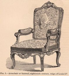 This is a charming engraving of a wonderful french chair! I love how ornate and curvy this armchair is!