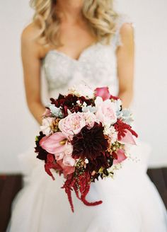 A textured bouquet of pink garden roses, burgundy amaranthus and dusty miller combine for a visually dynamic display. Floral Arrangements, Fall Flower