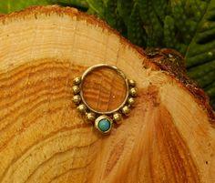 Messing-Septum ring Türkis 12 mm 16g von SpectrumDesignsUK auf Etsy