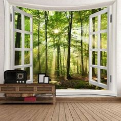 Window Outside Sunlight Forest Printed Wall Tapestry - GREEN W91 INCH * L71 INCH