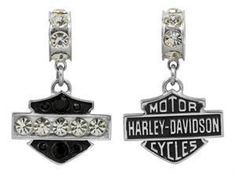 Harley-Davidson MOD Black & White Crystal Ride Bead Pendant HDD0071