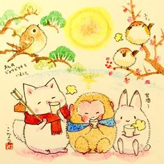 ^ I have found a new artist that I really like a lot. It is tunacan! The characters are so cute. Here is a group of them bundling up outdoors, because it is getting cold now and summer is going away. Nature Illustration, Photography Illustration, Cat Drawing, Drawing For Kids, Animal Paintings, Animal Drawings, Animated Cartoons, Kawaii Art, Japan Art