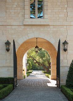 Porte cochere light French Formal Estate - traditional - landscape - dallas - Harold Leidner Landscape Architects