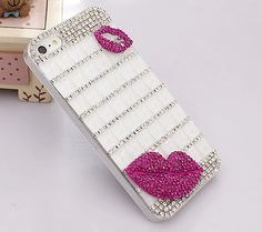 Crystal Red Lip Mobile Phone Case Deco Den by AlonmyCrystalCrafts