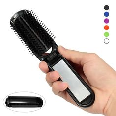 Hair Comb With Mirror Portable Folding Anti-static High Temperature Hair Brush Travel Styling Tools Random Color A6 #Affiliate