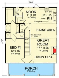 Cozy 3 Bed Bungalow House Plan - 52254WM floor plan - Main Level