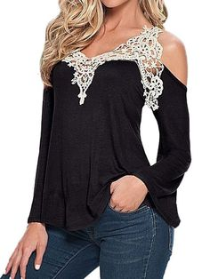 Womens Sexy Off Shoulder Lace Blouse Shirt Long Sleeve V-Neck Tank Top Black S