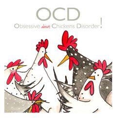 OCD carte de voeux carte de poulet drôle à lintérieur blanc