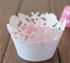 12 pezzi taglio laser spiaggia bianca tema sea shell wrapper cupcake avvolge matrimonio compleanno tea party in  da  su Aliexpress.com