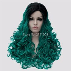 """24"""" Synthetic Hair Wigs Teal Turquoise Black Ombre Dark Green Women Wigs Long Wavy Cosplay Wigs Heat Resistant Costume Party Wig-in Synthetic Wigs from Beauty & Health on Aliexpress.com   Alibaba Group"""