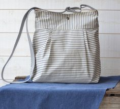 WATER PROOF Diaper bag Gray and Ecru Ticking stripe by ikabags, $79.00