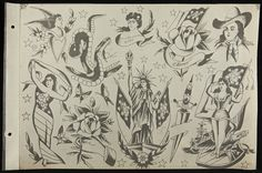 """Page from a tattoo flash portfolio, c. 1918. Note how these drawings are more refined than those in Waters' sketchbook. Tattoo artists often retraced their ideas as polished """"flash sheets"""" for customer perusal and sale to other tattoo artists. (THF 232964)"""