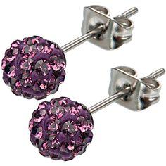 Inox 316L Steel Plum Ferido Crystal Orb Stud Earrings Size 6mm | Body Candy Body Jewelry #bodycandy