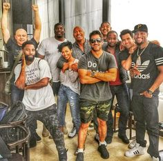 Dwayne Johnson and the cast of HBO's Ballers