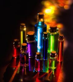 color therapy in glass bottles purple blue green rainbow Bottles And Jars, Glass Bottles, Perfume Bottles, Magic Bottles, Small Bottles, Taste The Rainbow, Over The Rainbow, Rainbow Things, Rainbow Stuff