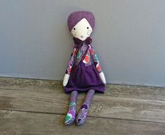 Purple Cloth Doll with Wool Felt Hair Handmade Doll Fabric
