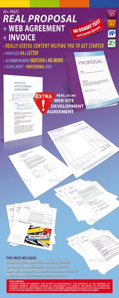 Project Proposal Template Bundle w\/ Invoice \ Contract Proposal - contract proposal