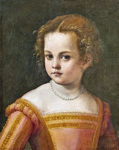 Putative posthumous portrait of Bia (Bianca) de Medici (ca at the age of 6 years Circle of Paolo Veronese Renaissance Portraits, Renaissance Costume, Renaissance Fashion, Italian Renaissance, Renaissance Art, Verona, Italian Hat, Traditional Paintings, Historical Costume