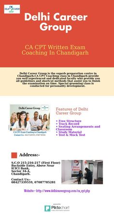 CA CPT Written Exam Coaching In Chandigarh  CA CPT Entrance exam coaching in Chandigarh provides you well researched study material including comprehensive practice session. Difficult concepts are covered multiple times before taking the CA CPT exam, so that students can easily qualify the CA CPT exams. for more information:- http://www.delhicareergroup.com/ca_cpt.php