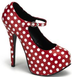 """Bordello by Pleaser Teeze 08 -  5 3/4"""" Polka Dot Mary Jane w/ concealed platform"""