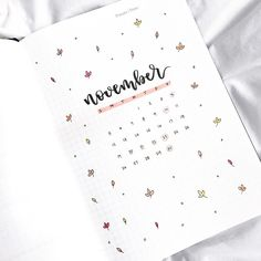 Bullet journal monthly cover page, Autumn bullet journal theme, November cover page, leaf doodles. @letteringwithleni