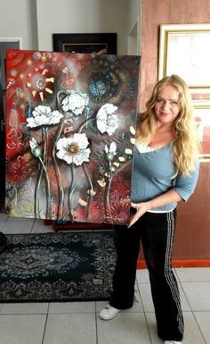 White Poppies painting shown here with artist, Cherie Roe Dirksen. Available at Saatchi Art. #art