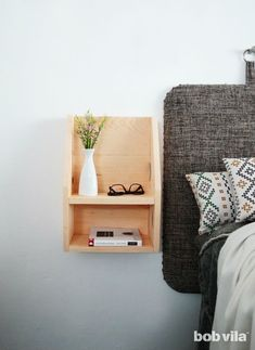 DIY Floating Nightstand Tutorial - Bob Vila Types Of Furniture, New Furniture, Furniture Making, Bedroom Furniture, Furniture Projects, Furniture Plans, Furniture Makeover, Narrow Nightstand, Floating Nightstand