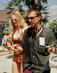Heather Graham & Paul Thomas Anderson on the set of Boogie Nights