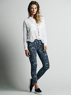 daefcf393b Free People Printed High Rise Skinny Cord Skinny Pants