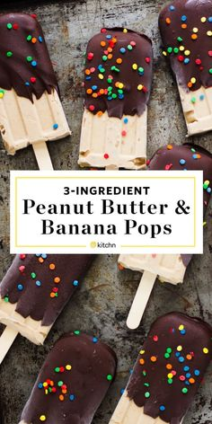 Recipe: Peanut Butter and Banana Popsicles Banana Popsicles, Homemade Popsicles, Healthy Popsicles, Healthy Snacks, Healthy Eating, Clean Eating, Frozen Desserts, Frozen Treats, Homemade Desserts