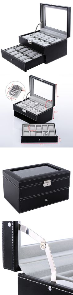 Watch 168164 Tms Black Leather 24 Mens Watch Box Large Glass Top