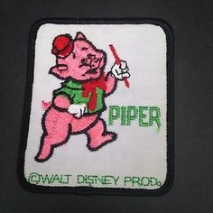 Vintage-Disney-Piper-Pig-Embroidered-Patch-Little-Red-Riding-Hood-Large-Unused